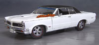 Click image to see more information about our 9th Anniversary Official Pontiac Die Cast Commemorative Collectible 1965 GTO Hurst Edition white w/ vinyl top