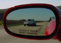 Click image to see more information about our 'OBJECTS IN MIRROR RAPIDLY DISAPPEAR' mirror decal