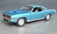 Click image to see more information about our 1970 Plymouth Cuda Blue mod top/white hockey!