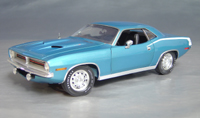 Click image to see more information about our 1970 Plymouth Cuda Blue chase/white hockey!