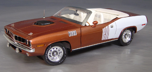 1971 hemi Cuda Convertible with billboard stripes. Only 12 produced