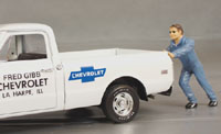 "Ken ""pushing a stalled vehicle"" Diorama display"