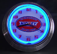 """Nickey Chevrolet"" Nostalgic Neon Clock, Blue Neon"