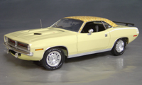 Click image to see more information about our 1970 Plymouth Cuda Yellow mod top/white hockey!