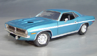 Click image to see more information about our 1970 Plymouth Cuda Blue chase/white strobe!
