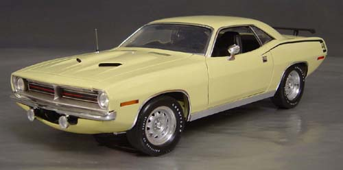1970 Plymouth Cuda Sun Fire Yellow with Yellow Mod Top and chase car